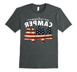 Mens American Camper U.S. Flag Patriotic Camping T Shirt 2XL