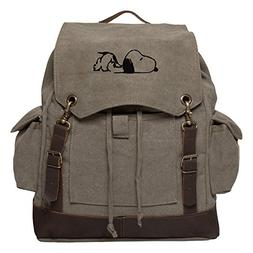 Snoopy Laying Flat Vintage Canvas Rucksack Backpack w/Leathe