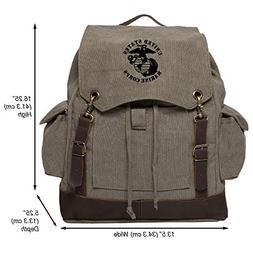 United States Marine Corps Vintage Rucksack Backpack w/Leath