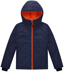 Wantdo Boy's Hooded Rain Jacket Fleece Lined Windcheater Out