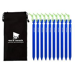 Geertop 7 inch Tent Stakes Aluminum with Reflective Pull Cor