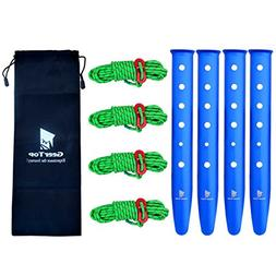 """Geertop 12.2"""" Aluminum Tent Pegs Stakes & 4mm Reflective Guy"""