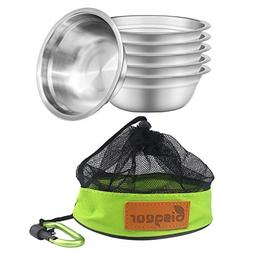 Bisgear 6pcs Backpacking Camping Stainless Steel 6 inch Bowl