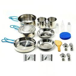Backpacking Gear Camping Cookware Stainless Steel Mess Kit C