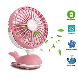 Battery Operated Clip Fan, Mini Personal Desk Fan, Stroller