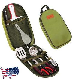 8 Piece BBQ Camping Cookware Utensils Travel Kit with Water