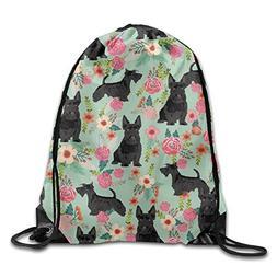 Black Scottie Dog Drawstring Bag - Unisex Shoulder Bags Gym
