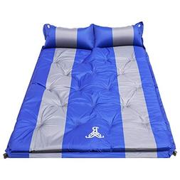 Blue Double Self Inflating Pad Sleeping Mattress Air Bed Cam