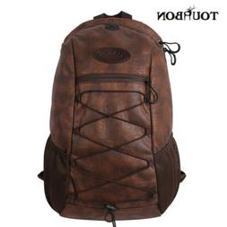 Tourbon Brown Hunting Gear Daypack PU & Leather Hiking Campi