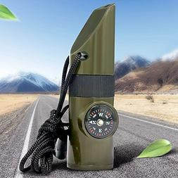 Bseen 7 In 1 Emergency Survival Whistle, Multifunctional Cam