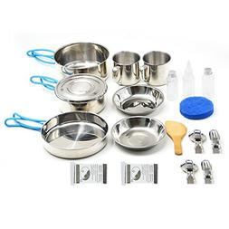 VENNOBIA Small Camping Cookware,11 Pieces Gift+9 Pieces Stai