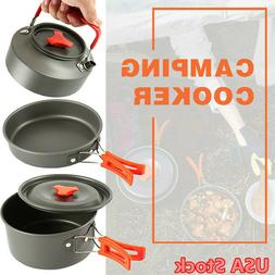 Camping Cookware Kit Backpacking Camping Gear Pots Pans Set