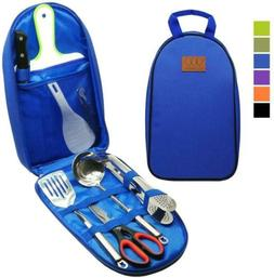 8Pcs Camping Cookware Kitchen Utensil Organizer Travel Set -