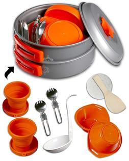 gear4U Camping Cookware Kits - BPA-Free Non-Stick Anodized A