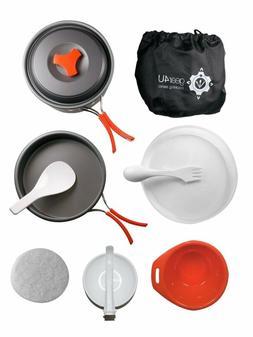 Camping Cookware Kits Non-Stick Anodized Aluminum Mess Kits