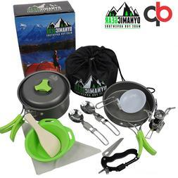 Camping Cookware Mess Kit - 13 pcs, Lightweight, Compact, Du