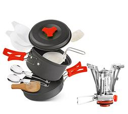 lovehope Camping Cookware Mess Kit, camp stove, Backpacking