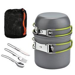 camping cookware mess kit - cooking picnic bowl pot pan set