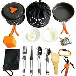 17Pcs Camping Cookware Mess Kit  Backpacki