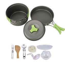 HUKOER Camping Cookware Mess Kit - 12 Pcs Cooking Utensils G
