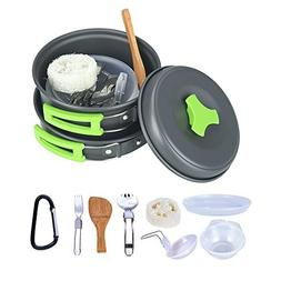 TTLIFE 13 PCS Camping Cookware Mess Kit Backpacking Gear & H