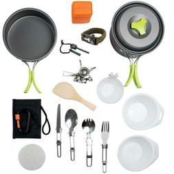 MalloMe Camping Cookware Mess Kit Backpacking Gear & Hiking
