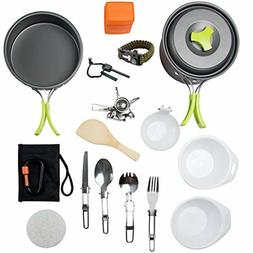 MalloMe Camping Cookware Mess Kit Backpacking Gear Hiking Ou