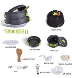 TTLIFE Camping Cookware Mess Kit Backpacking Gear & Hiking O