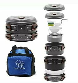 Camping Cookware Mess Kit Nonstick Backpacking Cooking Set O