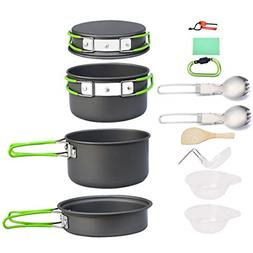 Bisgear Camping Cookware Pots Pans Set Mess Kit Backpacking