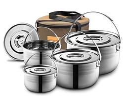 Camping Cookware Set - Compact Stainless Steel Campfire Cook