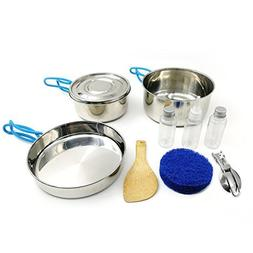 Camping Cookware Set, Stainless Steel Mess Kit Backpacking G