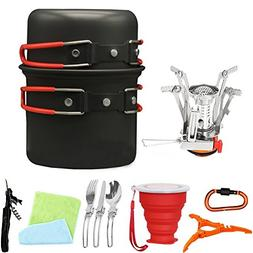 Bisgear 13pcs Camping Cookware Stove Carabiner Canister Stan