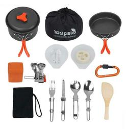 Bisgear 16pcs Camping Cookware Stove Carabiner Folding Spork