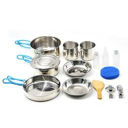 Camping Cookware, Stainless Steel Mess Kit Backpacking Gear