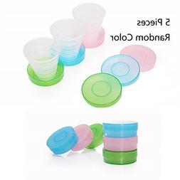 Ezyoutdoor 5 pieces Travel camping Folding Drinking Cups Col