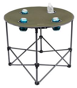 Internet's Best Camping Folding Table   4 Cup Holders   Gree