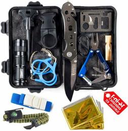 Camping Gear Tactical Survival Kit 14 in 1 | Hiking Backpack