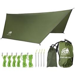 Camping Rain Fly Tarp 12'x10' Hex Ultra Light Ripstop Nylon