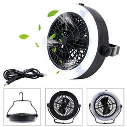 ABDQPC LED Camping Lantern Fan, USB Powered Tent light with
