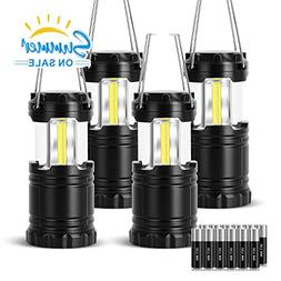 VICOUP 4 Pack LED Camping Lantern with Magnetic Base & 12 AA