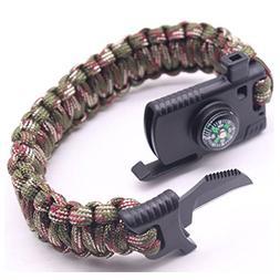 Cajoy Camping Paracord Survival Bracelet Emergency Kit 5-in-