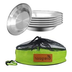 Camping Stainless Steel 8.5 inch Kitchen Dinner Plate Pack o