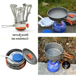 Camping Stove+Pot Pan Cooking Equipment Kit for Outdoor Back