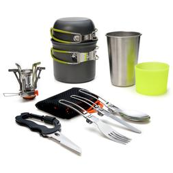 Camping Stove+Pot Pan Kit for Outdoor Backpacking Gear&Hikin