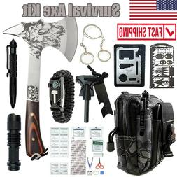 Camping Survival Tactical Axe Hatchet Mutil Tools Kit Outdoo