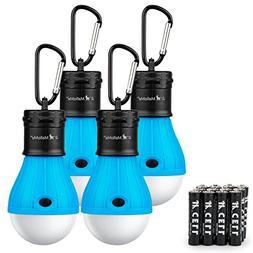 MalloMe Camping Tent Lantern Bulb Lights - 4 Pack Blue - Por