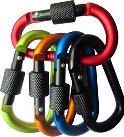 Carabiner Clip 3 Inch Large - 5 Pack Alumimum D Shape Quickd