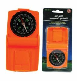 clip on folding compass orange color camping