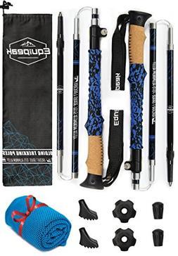 Equipeak Collapsible Folding Hiking & Trekking Sticks - 2 Al
